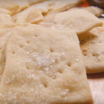 Close up of homemade crackers