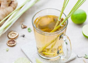 mug of lemongrass infused water