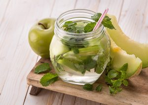 jar of apple honeydew infused water