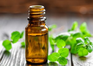 small dark glass bottle of essential oil with mint leaves