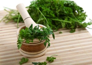 fresh cilantro on a cutting board with a mortar and pestle