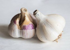 two partially peeled heads of garlic