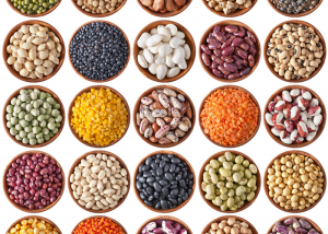 different types of beans in small round bowls