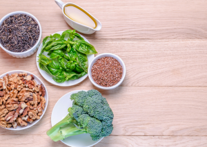 assortment of healthy foods from the blue zones diet