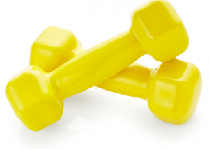 small yellow dumbbells used for desk exercises in the office