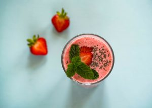 all natural energy drink of strawberry chia smoothie