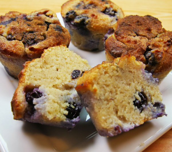 close up of healthy paleo blueberry muffins