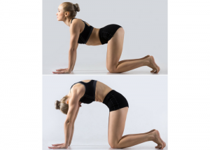a woman performing two stages of the cat to cow yoga pose