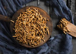 fried mealworms set on a wooden serving board