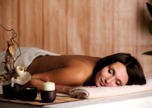 a woman relaxing at a spa