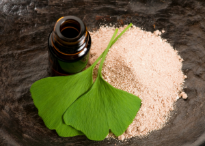 ginkgo biloba leaves, ginkgo biloba powder and a brown bottle on a wooden table