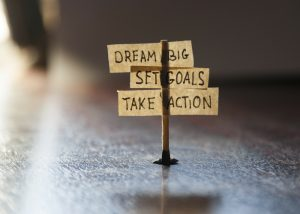 notes to dream big, set goals, and take action