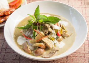 thai green curry with chicken, eggplant, thai basil, coconut milk, chilis