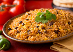 mexican rice and beans for cassava flour tortilla wrap filling