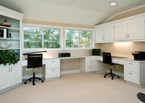 clean and spacious home office with white furniture