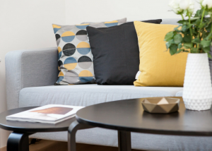neat and modern living room with round coffee tables and grey couch