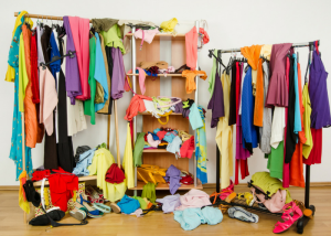 a very cluttered and messy wardrobe