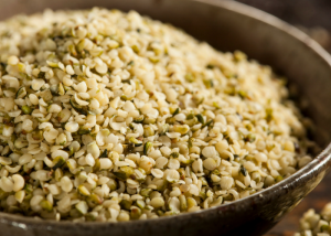 closeup of a bowl of vegan hemp seeds