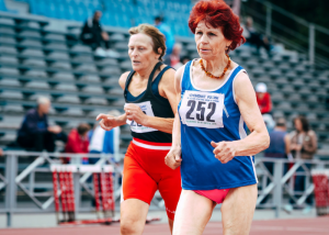 elderly women competing in a running race