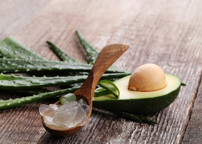 The ingredients needed to Avocado Oil After-Sun Care: fresh aloe vera leaves, a fresh avocado, and chopped up aloe vera