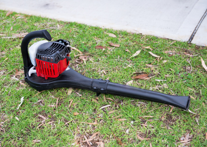 a leaf blower on the lawn