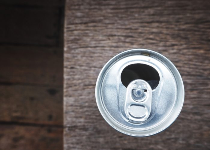 top down view of an open can of soda