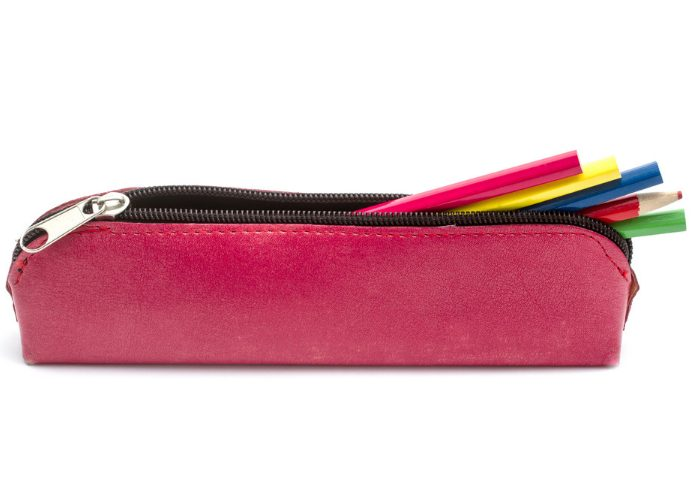 a pencil case with different colored pencils sticking out from it