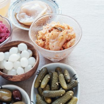 A variety of probiotic-rich fermented and pickled foods