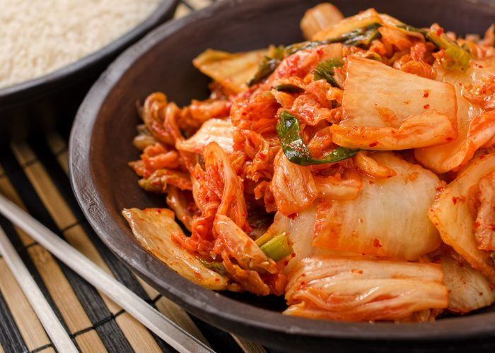 A dish of homemade kimchi, a naturally probiotic-rich food