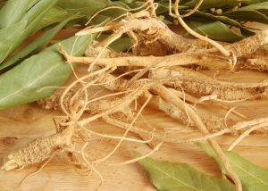 ginseng roots on a table surrounded by bay leaves