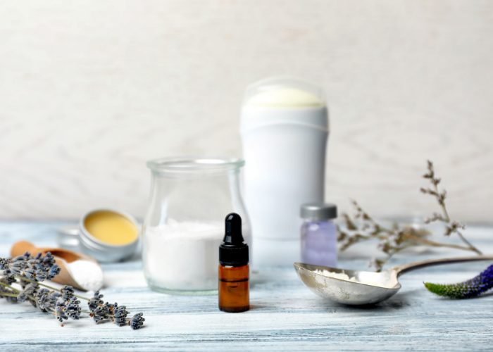 Organic ingredients for making DIY natural deodorant on a table