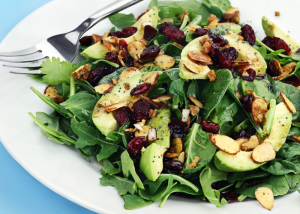 a low fat diet of healthy salad greens, avocado, fruits, nuts and dried berries