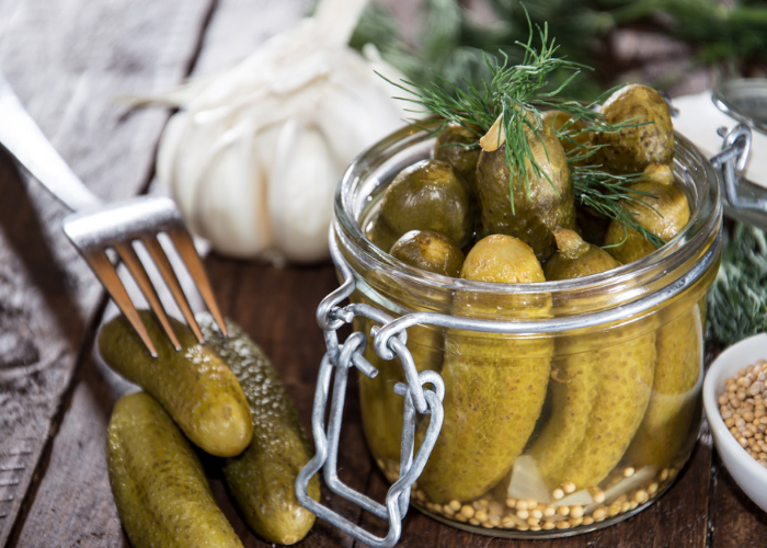 A jar of pickled gherkins rich in amino acid histidine