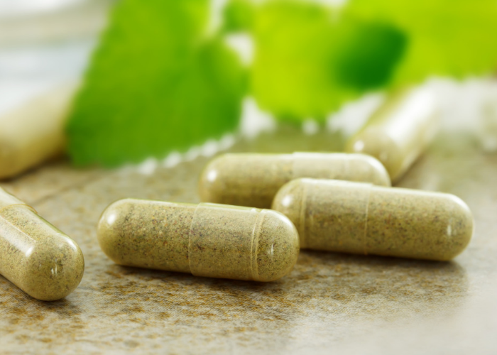 Close-up of capsules of prebiotic supplements