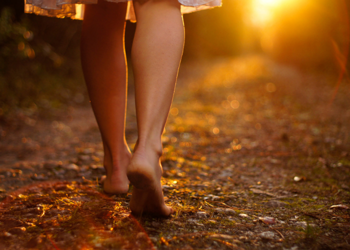 Close up of woman's bare feet walking on dirt road in the forest at sunset