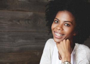 African american woman smiling with adult braces