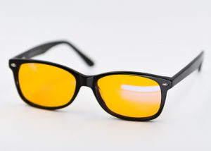 Blue light filter glasses with yellow tinted frame