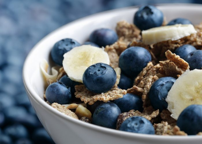 Healthy fiber cereal with blueberries and banana