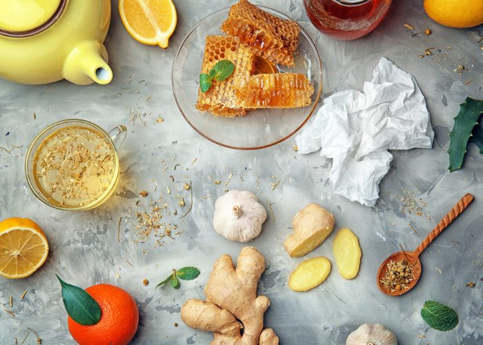 Ingredients such as honey, garlic, ginger and lemon for a natural antibiotic garlic tea drink