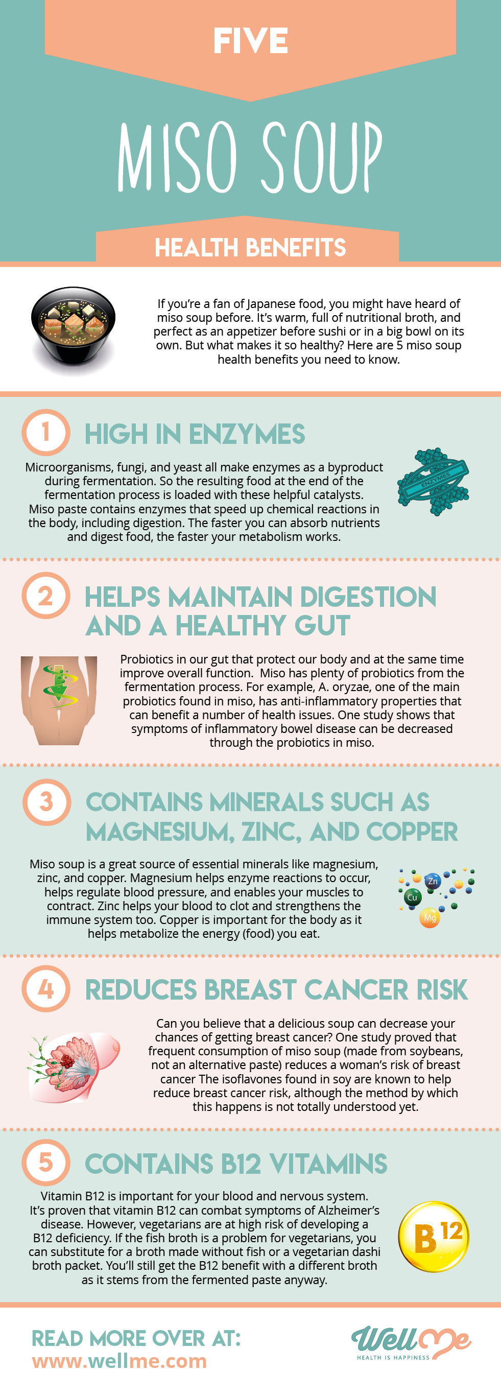Five Miso Soup Health Benefits infographic