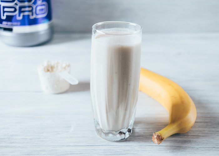 A banana flavored pre-workout shake