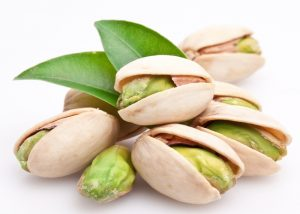 A pile of fresh pistachio nuts