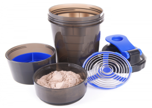 A protein shaker with protein powder