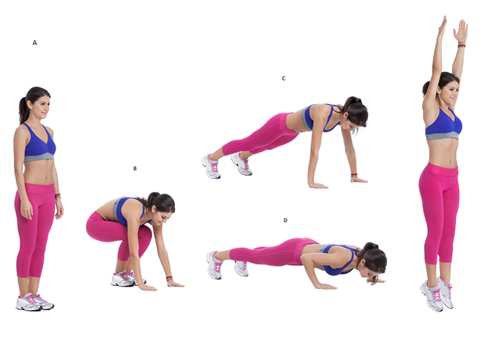 Woman demonstrating burpees for a goblet squat integrated workout