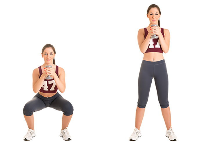 Image of a woman performing a dumbbell goblet squat exercise