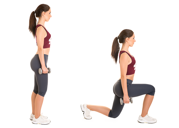 Woman demonstrating walking weighted lunges in a goblet squat integrated workout