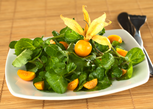 Golden berries on top a green salad on a table mat with a fork and knife on the side.