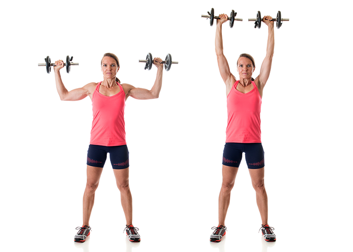 Woman showing how to do an overhead shoulder press for a good chest and tricep workout