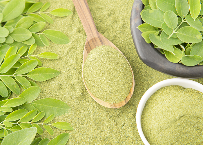 Moringa powder on a wooden spoon surrounded by moringa leaves