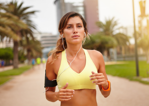 Woman outdoors running for weight loss